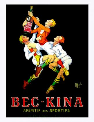 "(alt=""original vintage poster alcohol Bec-kina signed Rugby in the plate MICH from art deco period 1910"")"