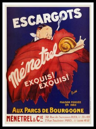 "(alt=""original vintage poster Escargot Ménetrel Bourgogne, snail poster signed in the plate RUDD art deco 1920"")"