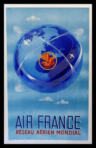 """(alt=""""original transportation poster AIF FRANCE réseau aérien mondial signed PLAQUET 1949"""")"""