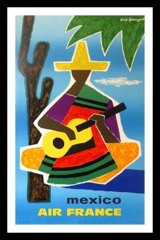 "(alt=""original travel poster Air France MEXICO signed Guy GEORGET 1963"