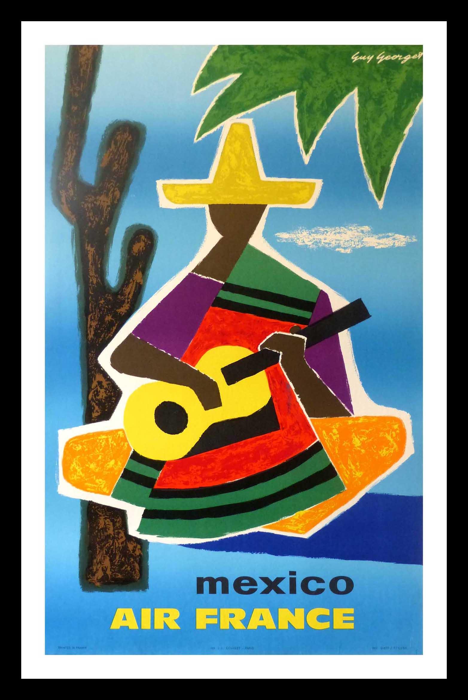 "(alt=""original travel poster Air France MEXICO signed Guy GEORGET 1963"