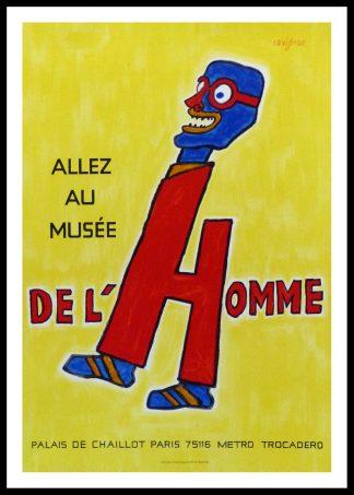 """(alt=""""Original vintage exhibition poster Allez au Musée de l'Homme Palais de Chaillot Trocadéro PARIS signed in the plate SAVIGNAC 1981"""")"""