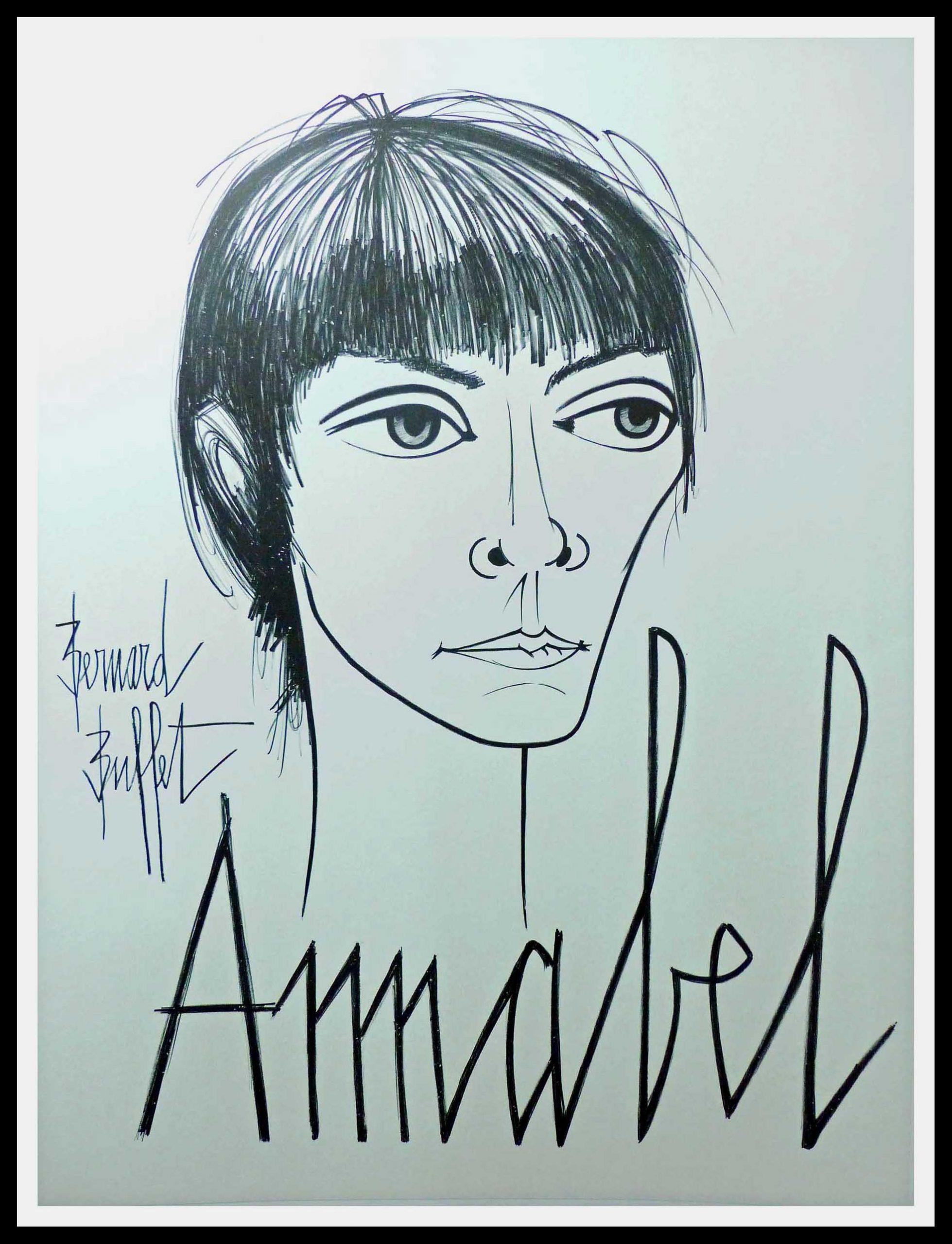 """(alt=""""original singer poster ANNABEL signed Bernard BUFFET 1960"""")"""