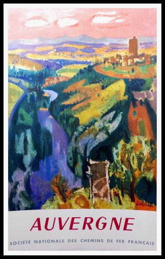 "(alt=original travel poster Auvergne Mountain SNCF signed in the plate AUJAME 1959"")"