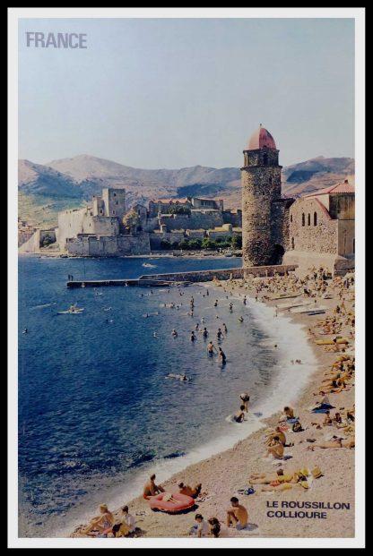 """(alt=""""original travel poster France le Roussillon Collioure Photo Sylvain KNECHT 1973"""")"""