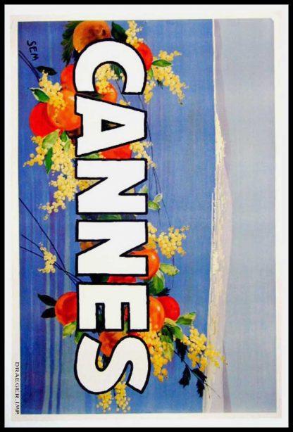 """(alt=""""original travel poster CANNES South of France signed by SEM 1940"""")"""