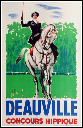 "(alt=""original travel poster Deauville Normandy race horse circa 1950"")"