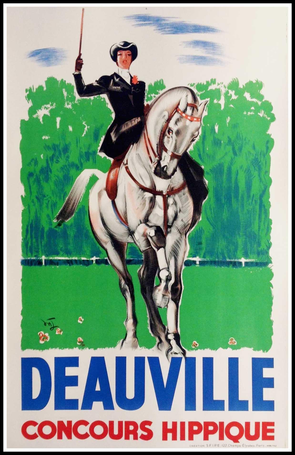 "(alt=""original travel poster Deauville Normandy race horse circa 1950"")"