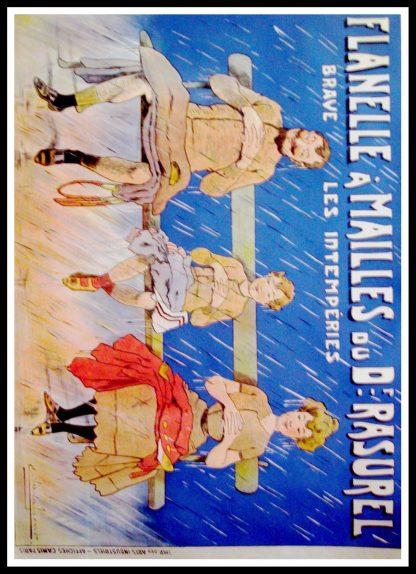 """(alt=""""original advertising poster fashion Flanelles à mailles Docteur Rasurel signed VAVASSEUR art nouveau 1900"""")"""