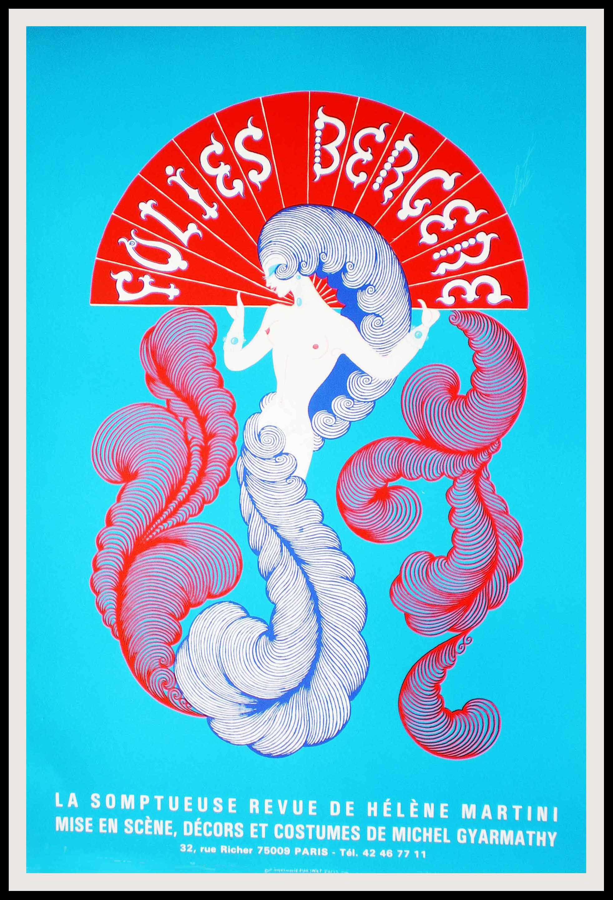 """(alt=""""original vintage music-hall poster FOLIES BERGERES Hélène Martini, signed in the plate printed by SAINT MARTIN 1974"""")"""