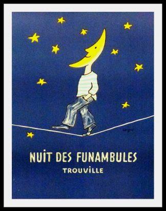 """(alt=""""original travel poster Nuit des funambules Trouville Normandy signed SAVIGNAC 1985"""")"""