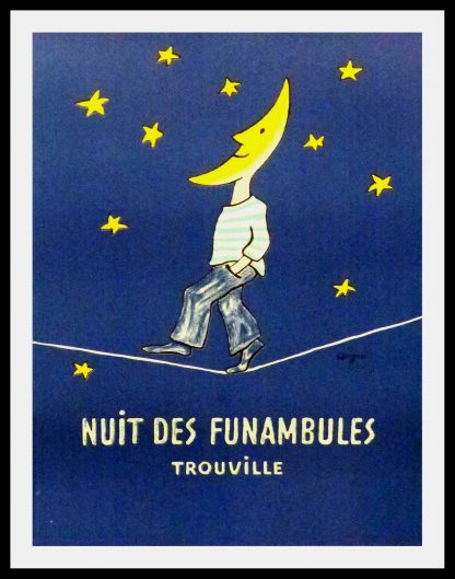 "(alt=""original travel poster Nuit des funambules Trouville Normandy signed SAVIGNAC 1985"")"