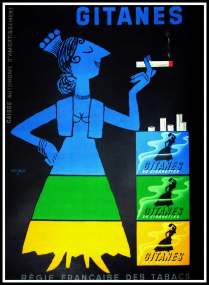 "(alt=""original advertising poster Gitanes cigarettes signed Raymond SAVIGNAC 1953"")"