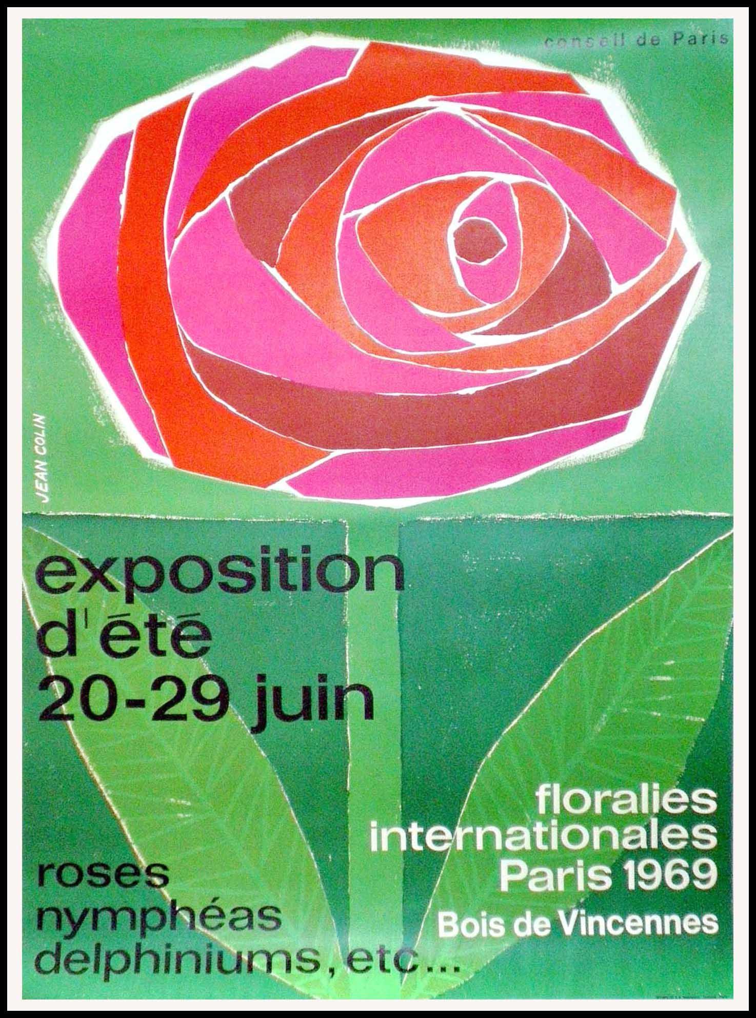 """(alt=""""original exhibition poster Floralies internationales Paris 1969 Bois de Vincennes signed Jean COLIN 1950"""")"""