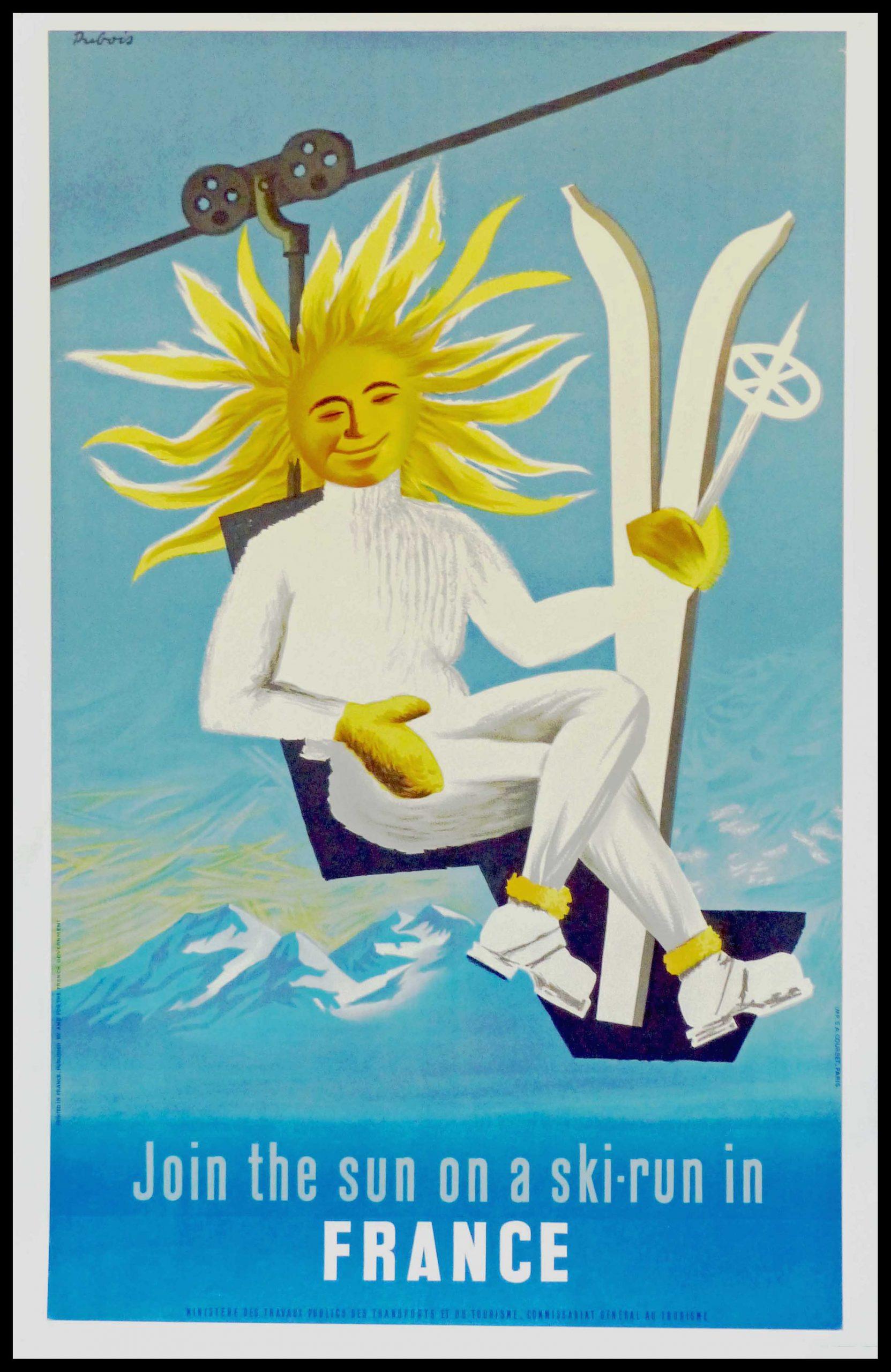 "(alt=""original winter sport poster join the sun on a ski-run in France signed DUBOIS 1950"