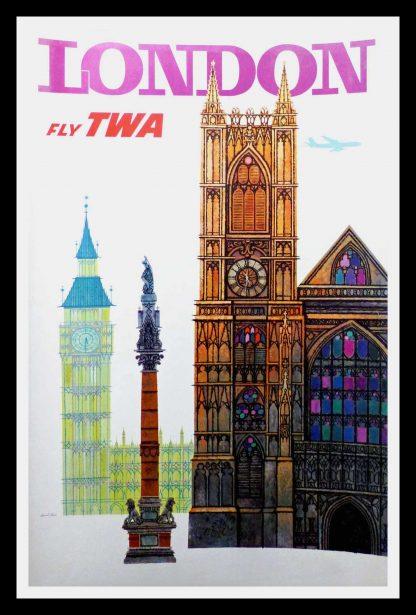 "(alt=""original transportation poster LONDON fly TWA signed David KLEIN 1960"")"
