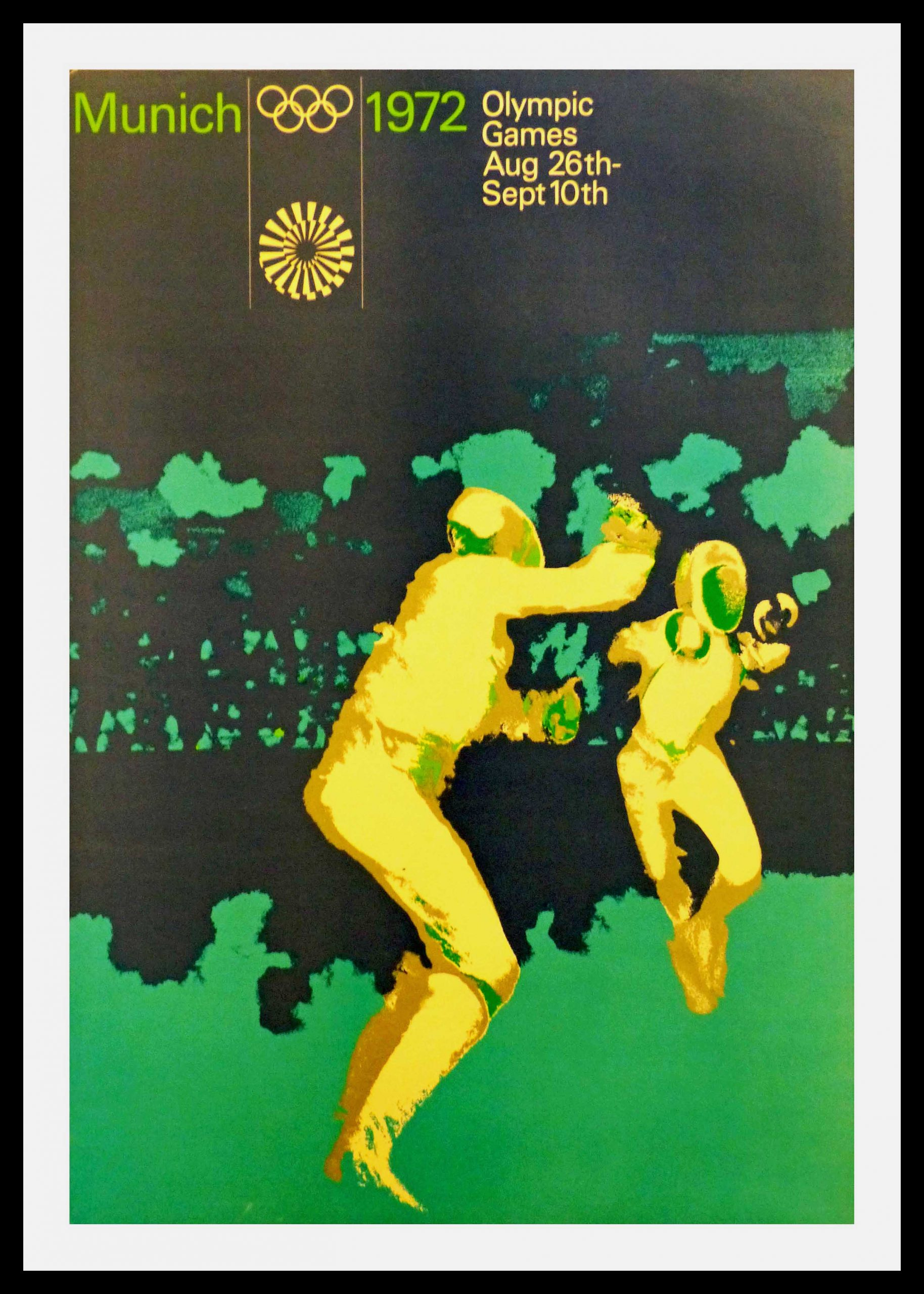"(alt= original vintage poster Olympic games fencing august 26th MUNICH GERMANY 1972"")"