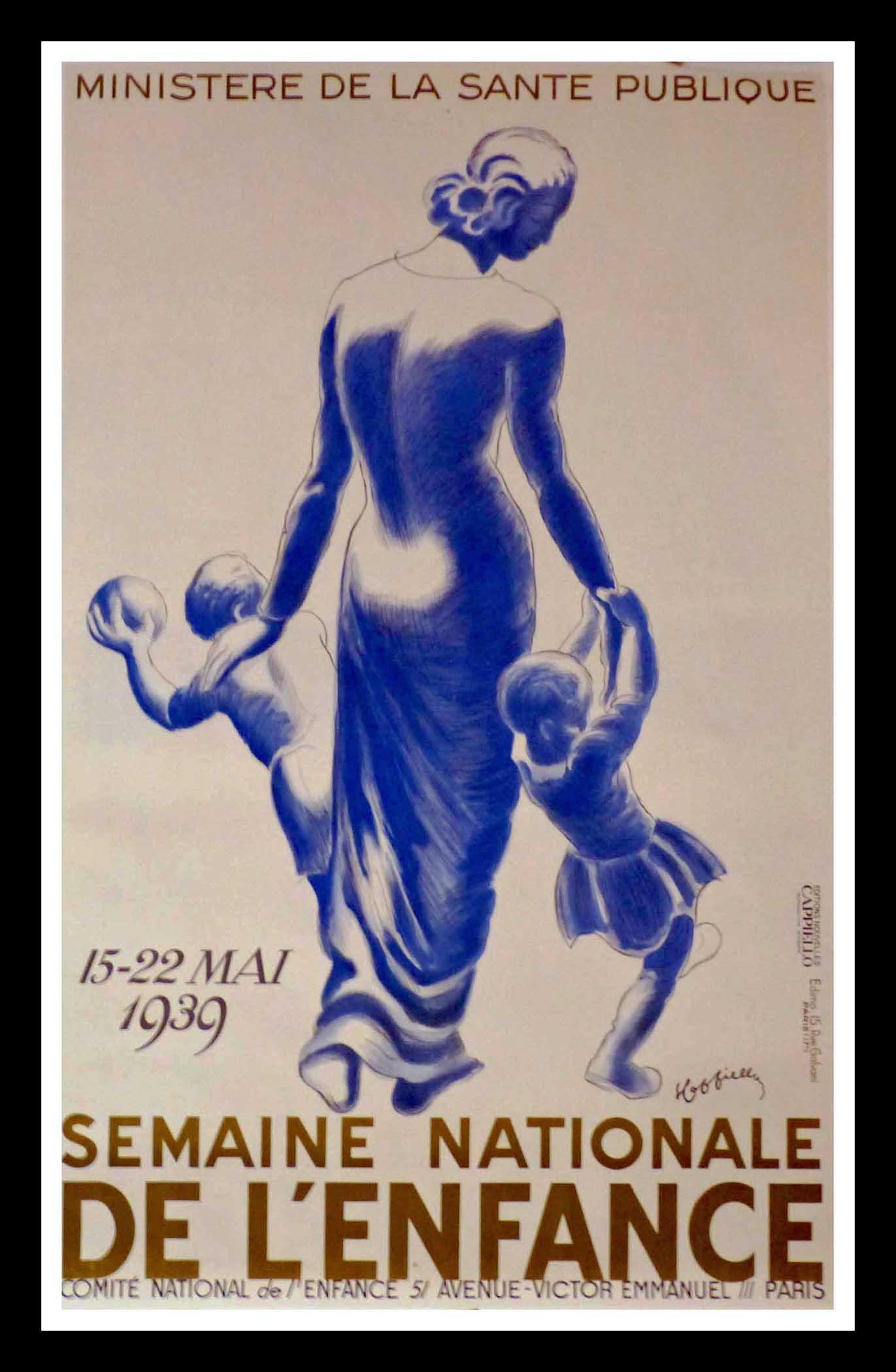 "(alt=""original vintage poster Semaine Nationale de l'Enfance Leonetto CAPPIELLO, art deco, signed in the plate 1939"")"