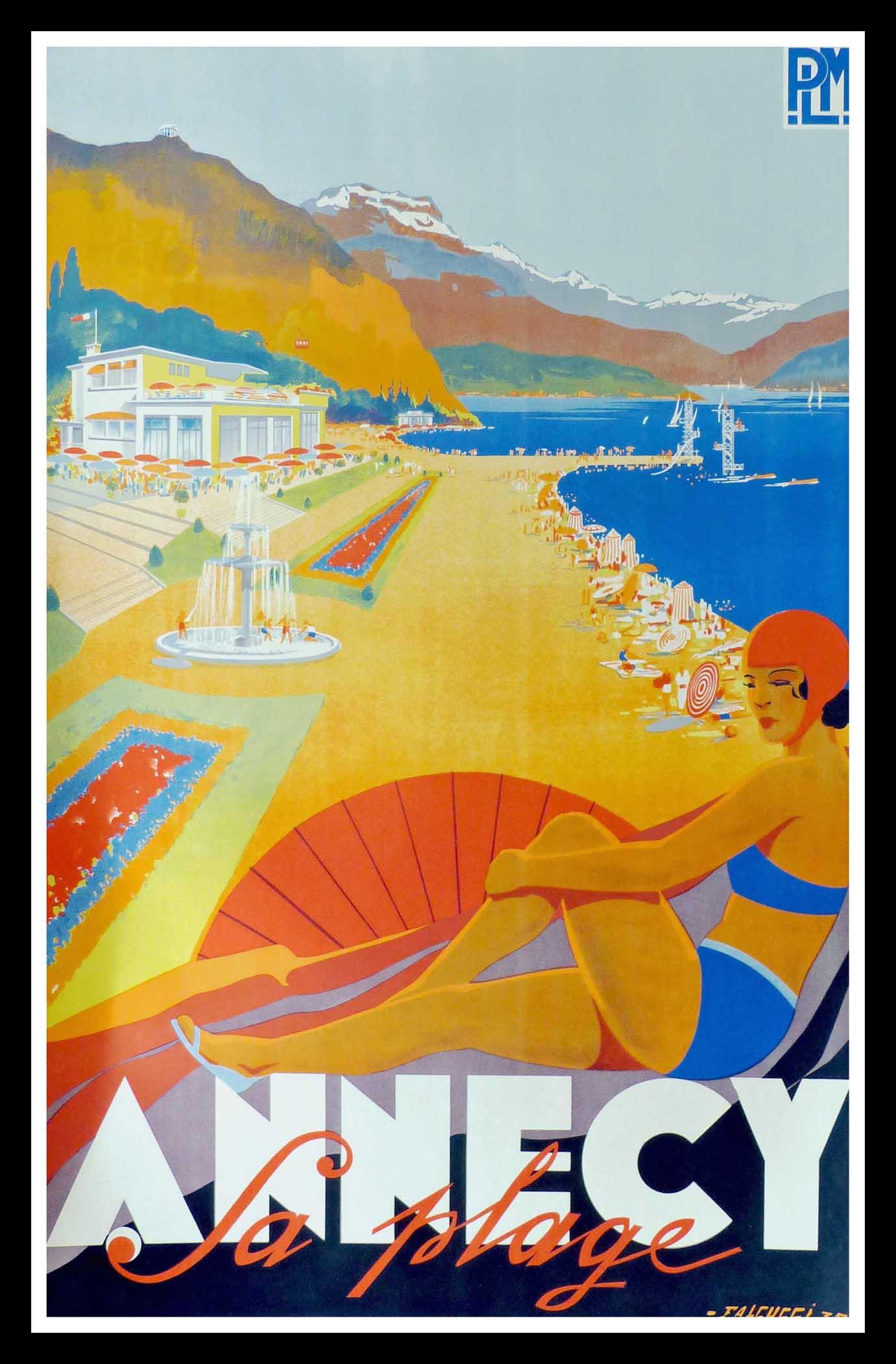 Plm Annecy – La Plage — Affiche Ancienne Touristique — French ...