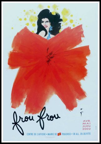 """(alt=Affiche ancienne Spectacle FrouFrou signée dans l'affiche par René Gruau 2002 et imprimée par le centre de l'affiche, Mairie de Toulouse"""")"""