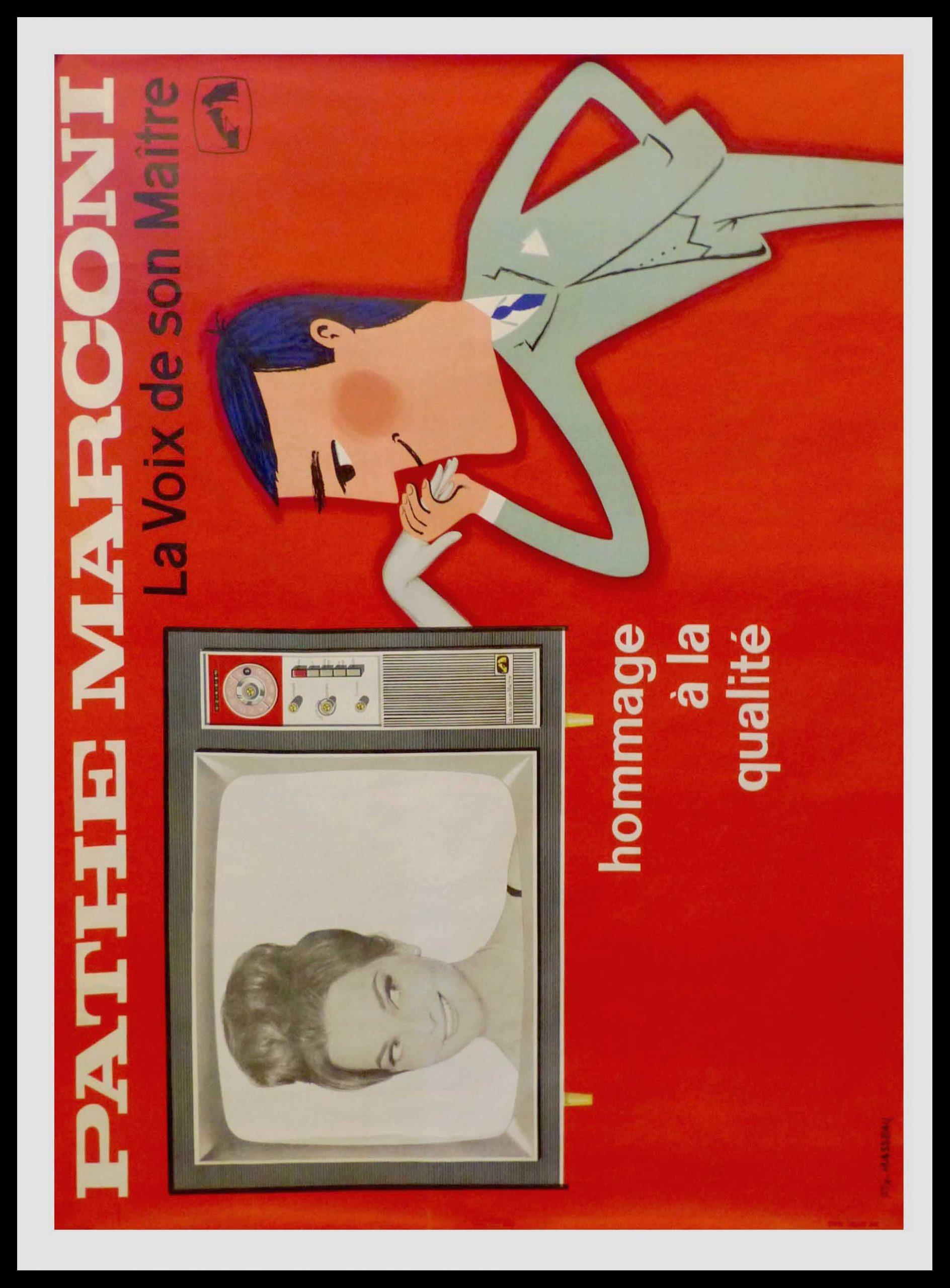 """(alt=""""original advertising poster Pathé Marconi la voix de son maître signed FIX MASSEAU 1950"""")"""