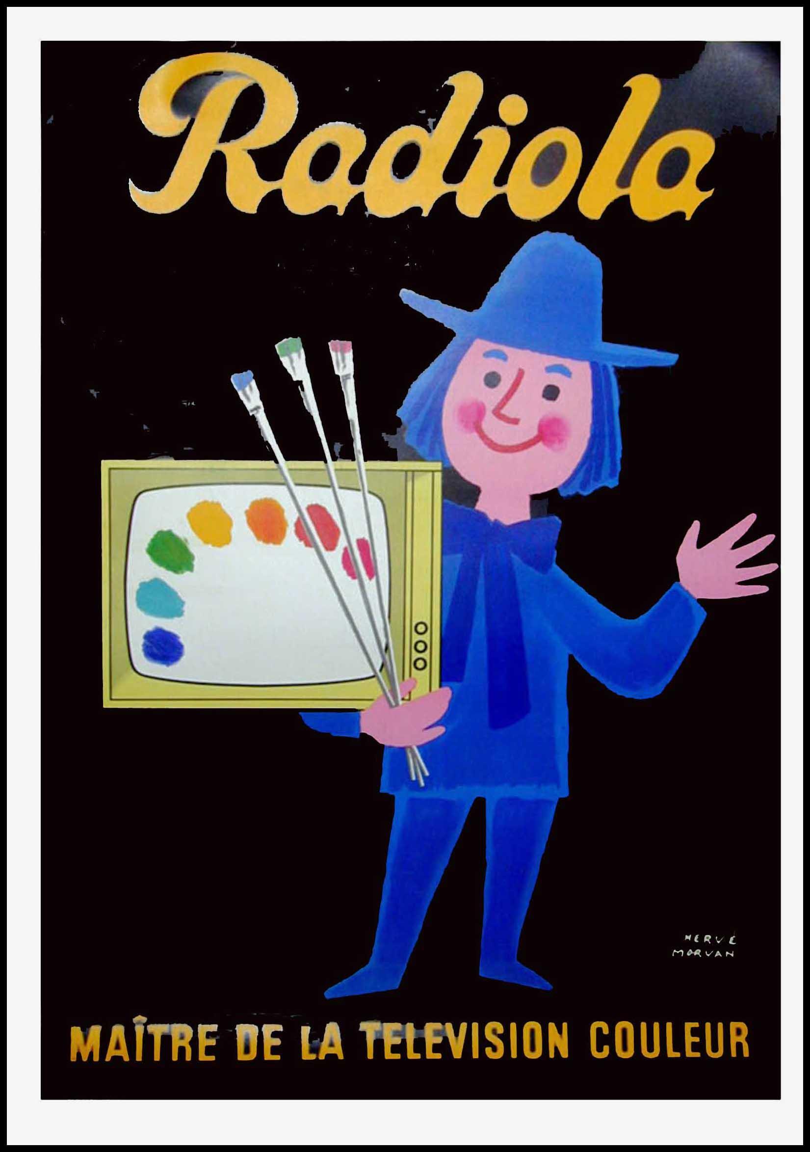 "(alt=""original advertising poster Radiola color television signed Hervé MORVAN circa 1950"")"