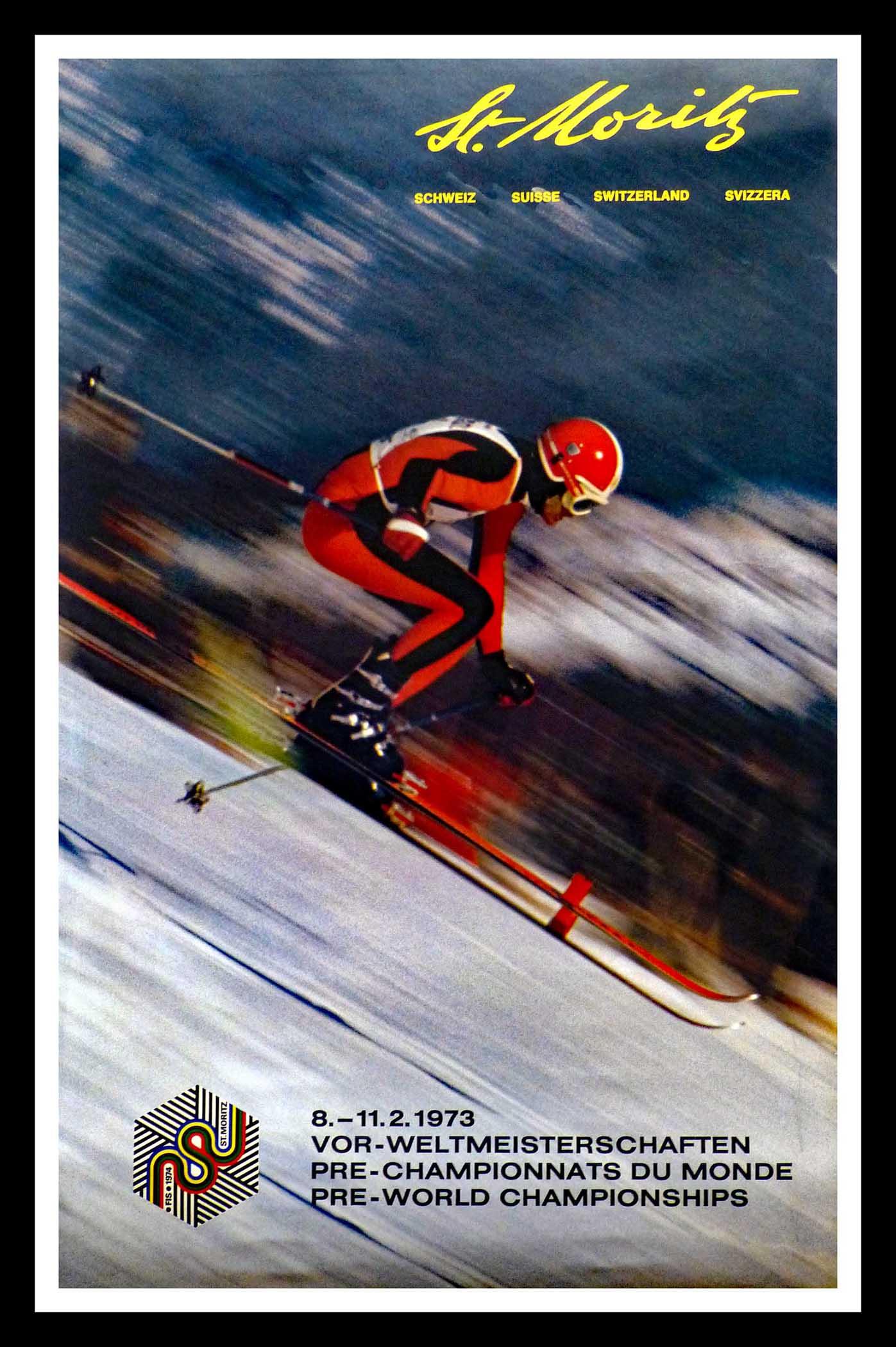 "(alt=""original winter sport poster pre-world championships ST MORITZ SWITZERLAND 1973"")"
