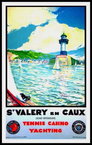 "(alt=""original travel poster St Valéry en Caux Normandy Tennis Casino Yachting signed in the plate C. MARCHAND 1936"")"