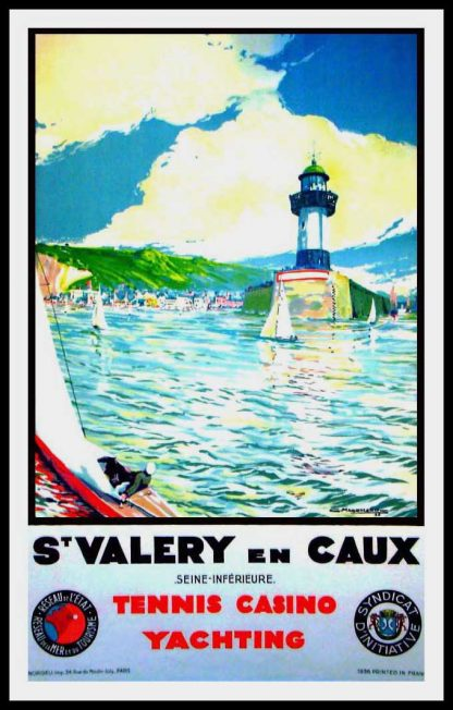"""(alt=""""original travel poster St Valéry en Caux Normandy Tennis Casino Yachting signed in the plate C. MARCHAND 1936"""")"""