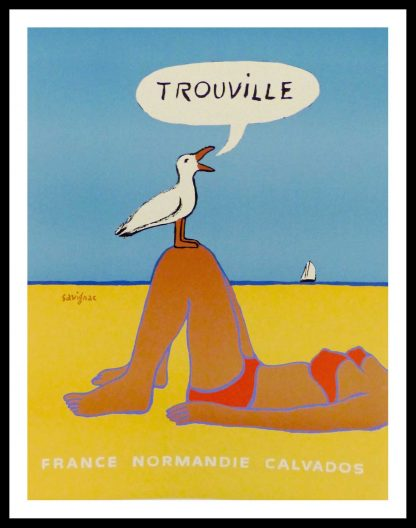 "(alt=""original travel poster Trouville Normandie Calvados signed SAVIGNAC 1987"")"