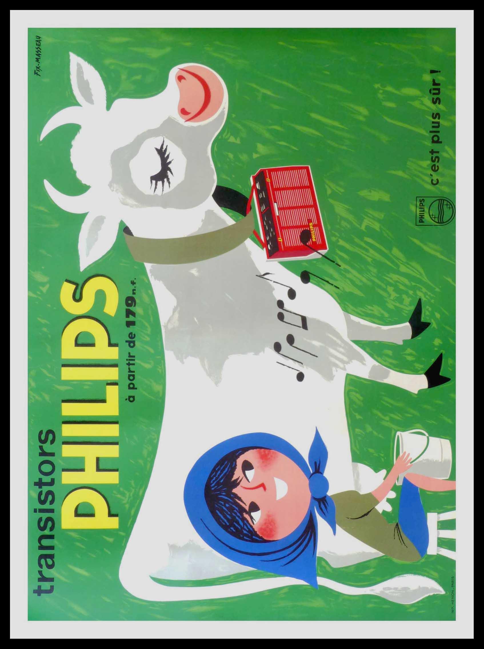 """(alt=""""original advertising poster Philips radio signed FIX MASSEAU circa 1950"""")"""