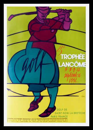 "(alt=""Ancienne affiche originale, Trophée Lancôme de St Nom La Bretèche, 1992 signed in the plate by Adami and printed by A. Karcher"")"