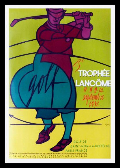 """(alt=""""Ancienne affiche originale, Trophée Lancôme de St Nom La Bretèche, 1992 signed in the plate by Adami and printed by A. Karcher"""")"""