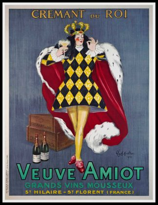 "(alt=""original vintage wine poster Cremant du Roi Veuve Amiot Leonetto CAPPIELLO, art deco, signed in the plate and printed by Devambez, The king 1922"")"