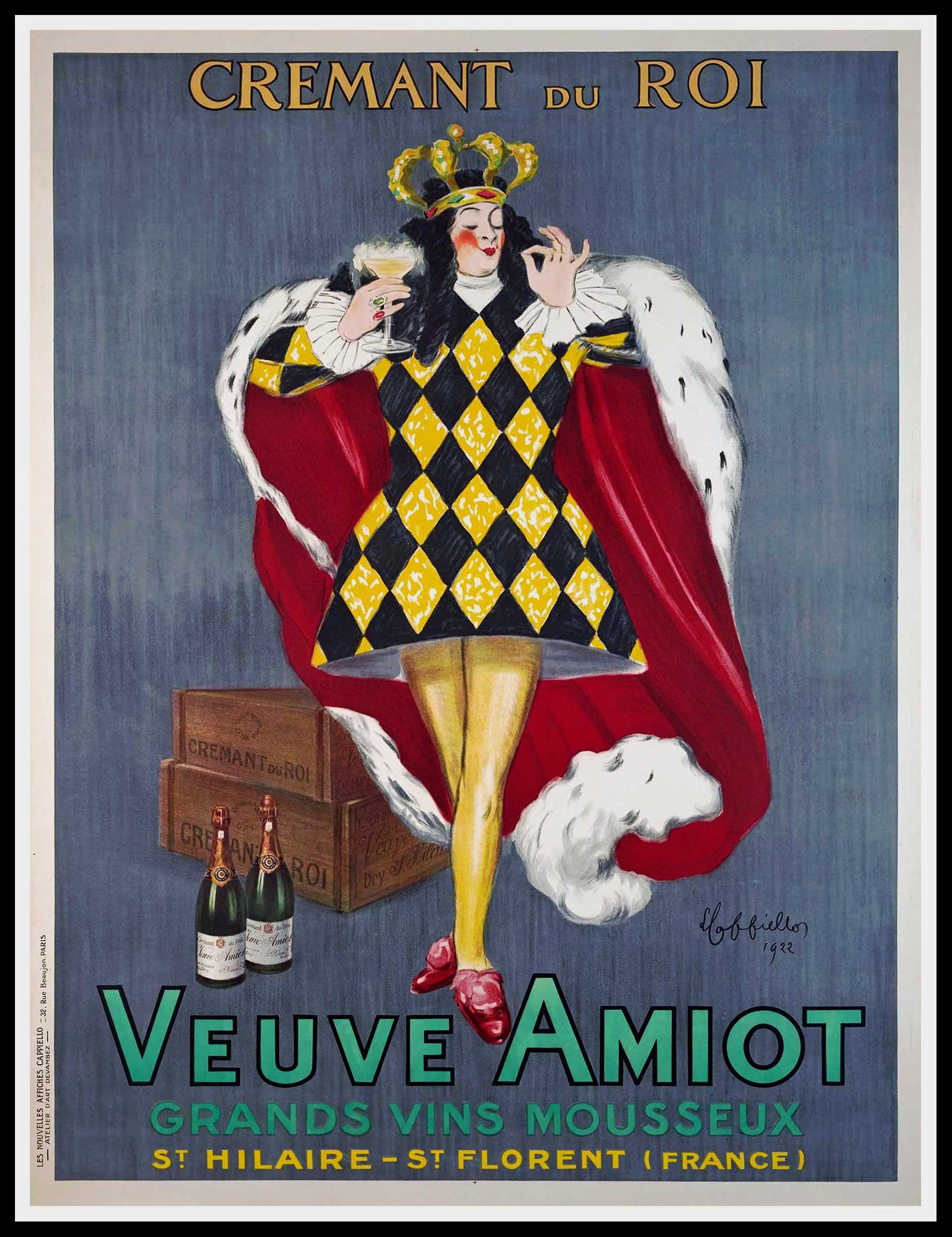 """(alt=""""original vintage wine poster Cremant du Roi Veuve Amiot Leonetto CAPPIELLO, art deco, signed in the plate and printed by Devambez, The king 1922"""")"""