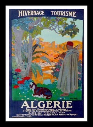 "(alt=""rare original vintage 1920s Algeria travel poster, signed Leon CARRE"")"