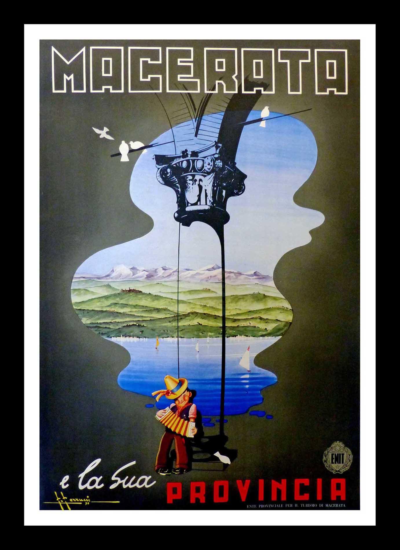 "(alt=""original vintage poster Macerata E La Sua Provincia - Italy 1950 signed F. FERRUCCI"")"