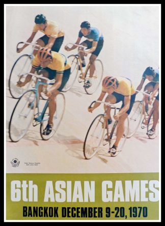 "(alt=""original vintage poster 6th Asian Games Bicycle Speed Race Bangkok, december 1970"")"