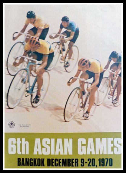 "(alt=""original vintage poster 6th Asian Games Bicycle Speed Race Bangkok, december 1970"")"