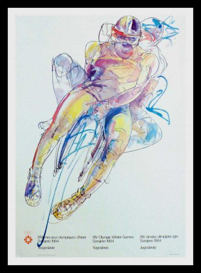 "(alt=original vintage poster XIV Olympic Winter Games bobsleigh Sarajevo Yugoslavia1984"")"
