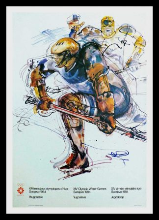 "(alt=original vintage poster XIV Olympic Winter Games ice hockey Sarajevo Yugoslavia1984 signed MUJEZINOVIC"")"