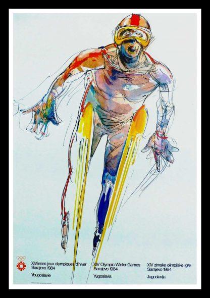 "(alt=""original vintage poster XIV Olympic Winter Games ski jumping Sarajevo Yugoslavia1984"")"