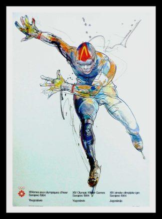 "(alt=""original vintage poster XIV Olympic Winter Games sliding sport Sarajevo Yugoslavia 1984"")"