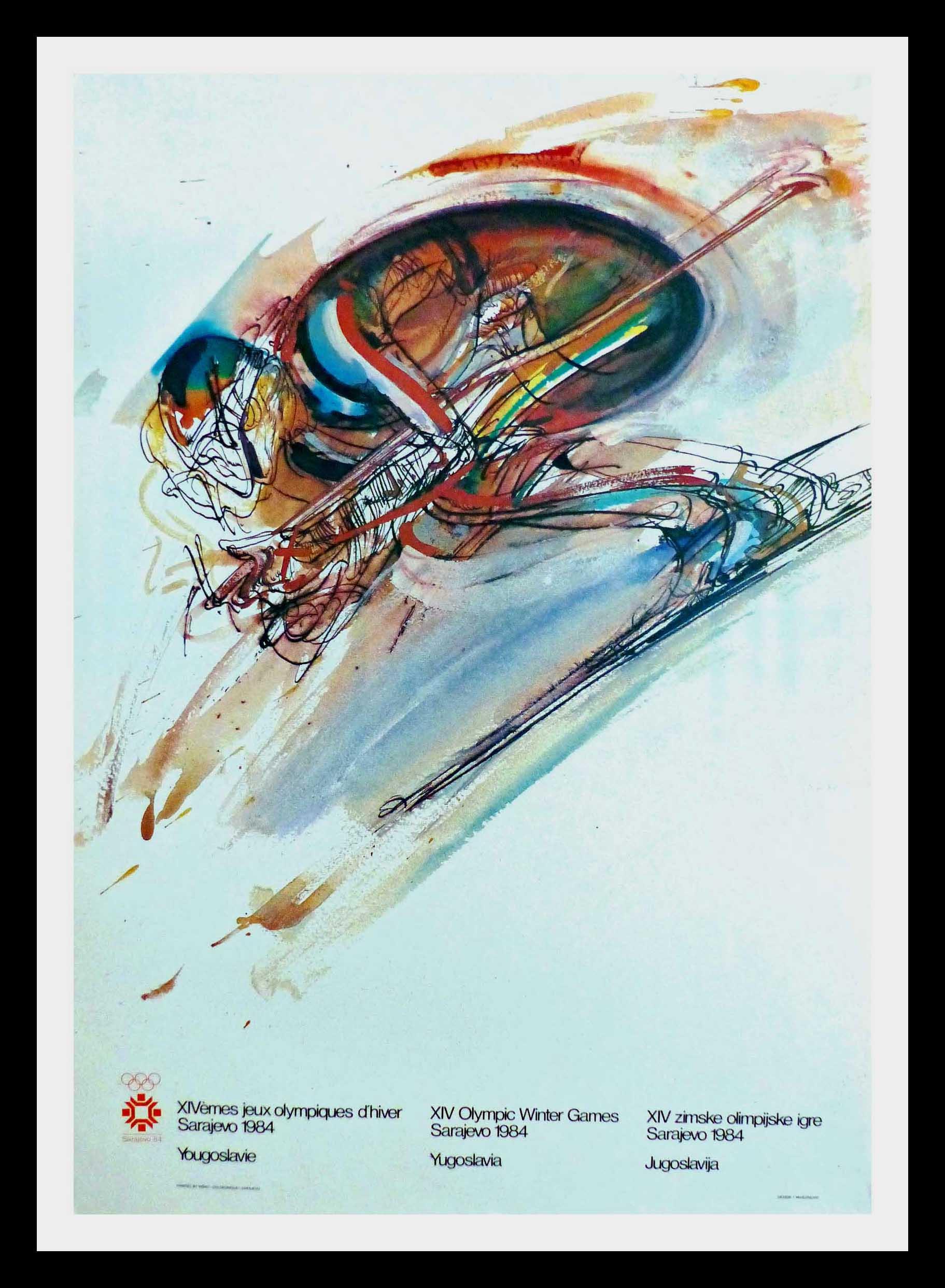"(alt=""original vintage poster XIV Olympic Winter Games skiing descent Sarajevo Yugoslavia 1984"")"