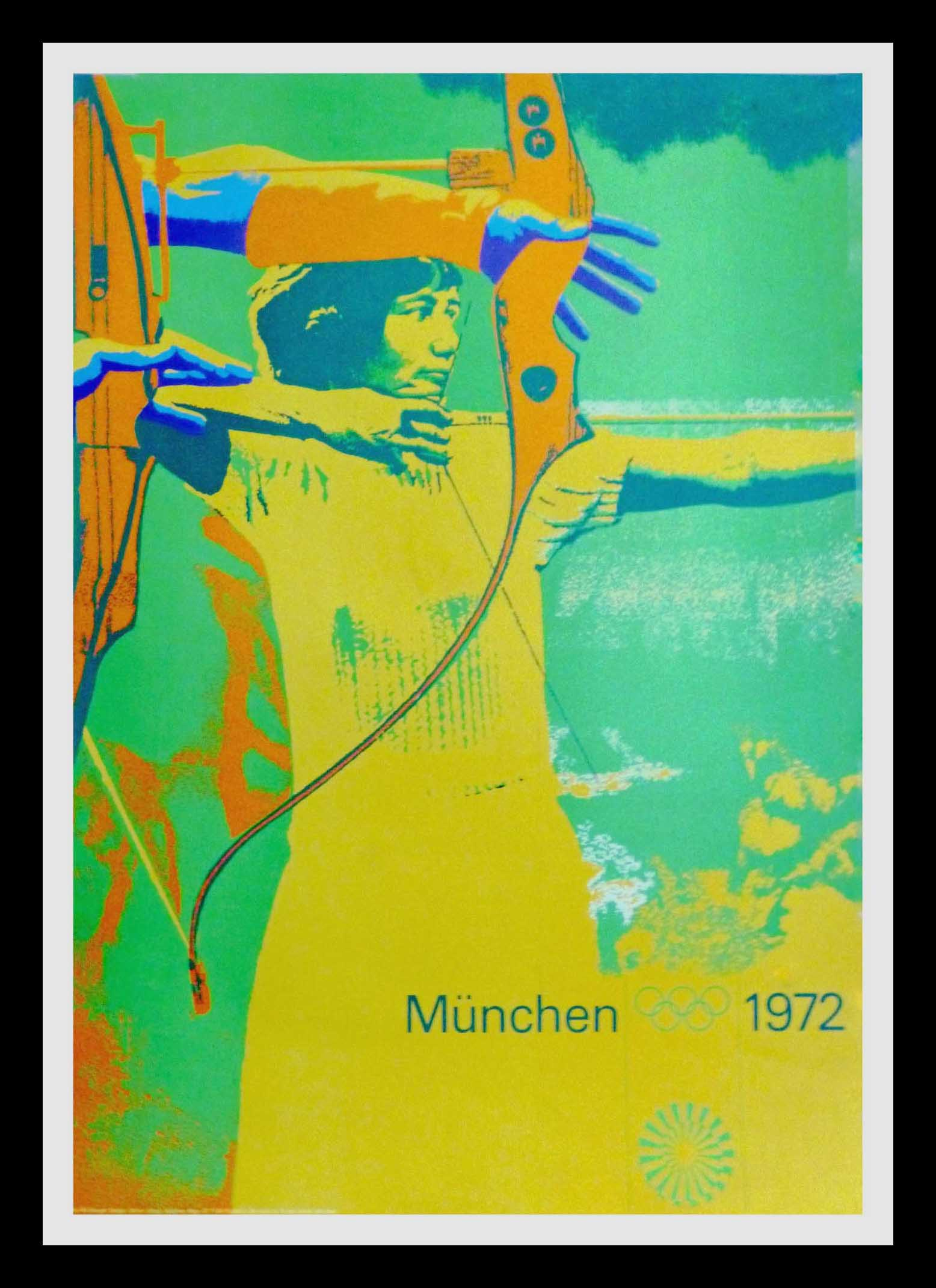 "(alt=""Original vintage poster of the Olympic Games Archery Munich - Germany - 1972"")"