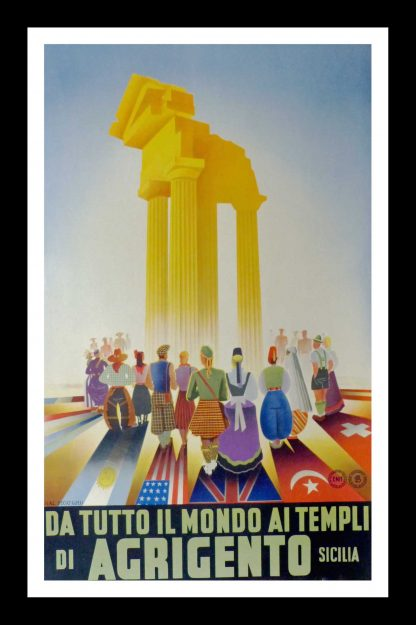 "(alt=""original tourism poster From All The World At the Temples Of Agrigento Di Sicilia Italy Sicilian 1951"")"