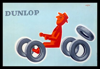 "(alt=""original vintage poster DUNLOP tire signed in the plate SAVIGNAC 1953"")"