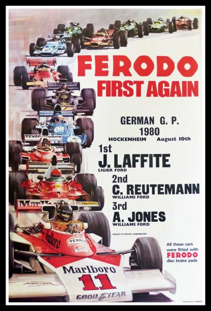 """(alt=""""original car racing poster FERODO first again Jacques Laffite signed in the plate Michael TURNER august 1980"""")"""