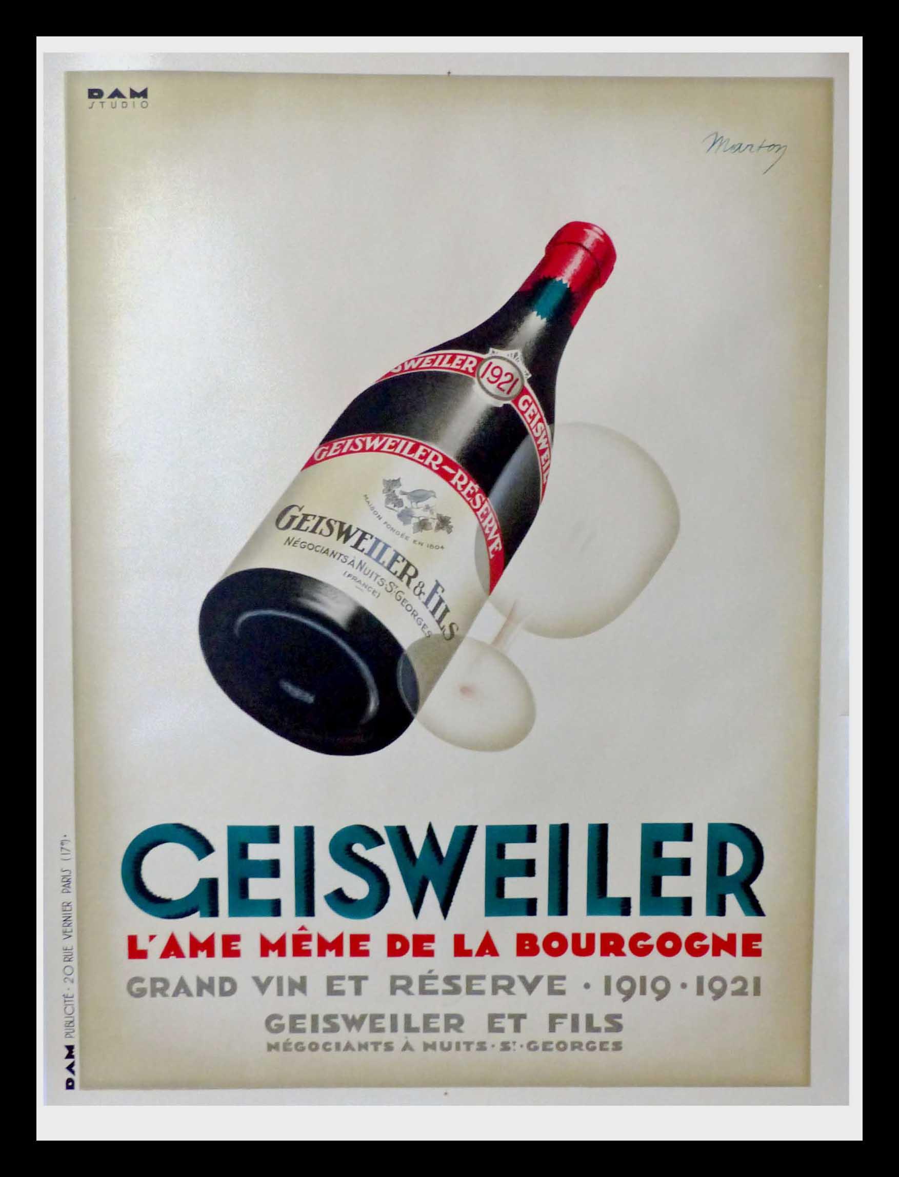 "(alt=""original poster burgundy wine Geisweiler MARTON art deco 1930"""