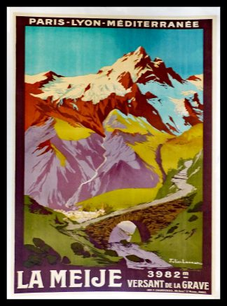 "(alt=""original vintage travel poster, Mountain la Meije switzerland, Julien LACAZE signed in the plate printed by Champenois, 1921"")"